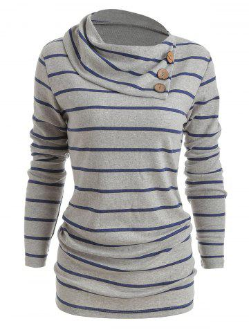 Striped Panel Heaps Collar Sweater