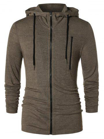 Long Sleeve Zipper Drawstring Hoodie - TAUPE - 2XL