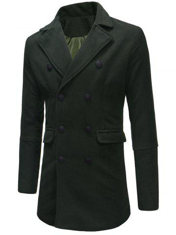 Double-breasted Flap Pocket Woolen Coat