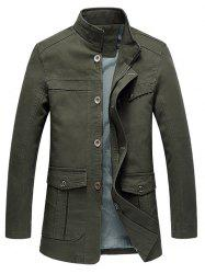 Military Stand Collar Solid Outdoor Multi Pockets Jacket -
