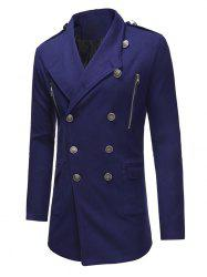 Double Breasted Zipper Decor Trench Woolen Coat -