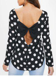 Polka Dot Cut Out Bowknot Blouse -