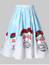 Christmas Plus Size Santa Clause Print A Line Skirt -