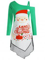 Plus Size Asymmetric Panel Christmas Graphic Dress -