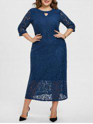 Plus Size Keyhole Floral Lace Dress -