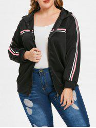 Plus Size Ribbons Zipper Fly Hooded Jacket -
