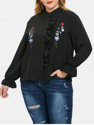 Plus Size Asymmetric Floral Embroidered Ruffles Shirt -