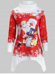 Asymmetrical Plus Size Christmas Santa Claus Print Sweatshirt -