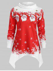 Plus Size Turtleneck Snowflake and Santa Claus Sweatshirt -