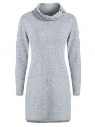 Cowl Neck Buttoned Sweater Dress -