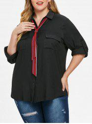 Plus Size Long Sleeves Shirt with Pockets -