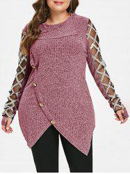 Plus Size Mesh Panel Ribbed Marled Knit Top -