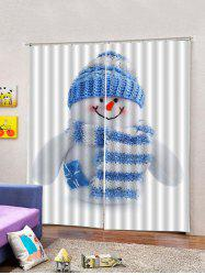 2Pcs Christmas Capped Snowman Printed Window Curtain -