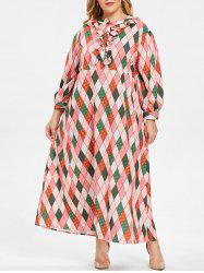 Plus Size Argyle Ruffles Maxi Dress -