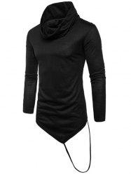 Solid Irregular Hem With A Stripe Cowl Neck T-shirt -