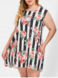 Plus Size Sleeveless Floral Striped Mini Dress -