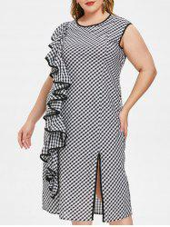 Plus Size Checked Ruffle Slit Midi Dress -