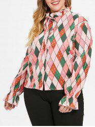 Plus Size Ruffled Neck Argyle Print Shirt -
