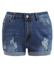 Distressed Cuff Denim Shorts -