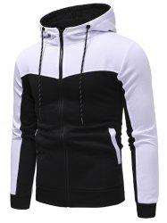 Hooded Contract Color Drawstring Hoodie -