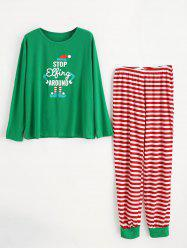 Christmas Plus Size Striped Pajamas Set -