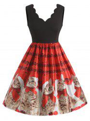 Plus Size Christmas Cat Pattern Flare Dress -
