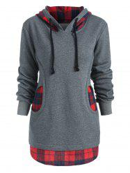 Checkered Two Pockets Terry Hoodie -