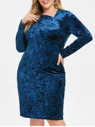 Skew Neck Plus Size Velvet Knee Length Dress -