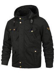 Applique Zipper Casual Hooded Jacket -