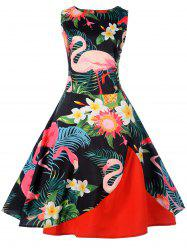 Vintage Tropical Print Pin Up Dress -