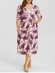 Floral Print Plus Size Midi Dress -