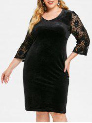 V Neck Plus Size Knee Length Velvet Dress -