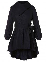 Button Embellished Plus Size High Low Coat -