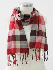 Tassel Edge Checked Pattern Thick Scarf -