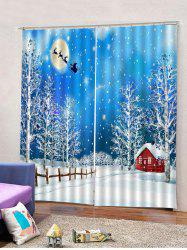 2Pcs Christmas Snowy Night View Printed Window Curtains -