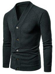 Solid Pocket Button Up Thin Knit Sweater -
