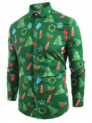 Christmas Elements Print Hem Curved Long Sleeve Shirt -