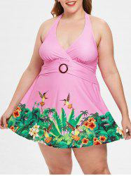Plus Size Halter Neck Birds Print Swimwear -