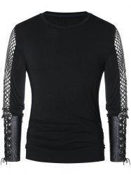 Openwork Lace Up Long Sleeve T-shirt -