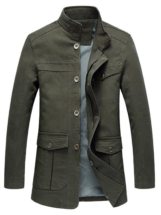 Buy Military Stand Collar Solid Outdoor Multi Pockets Jacket