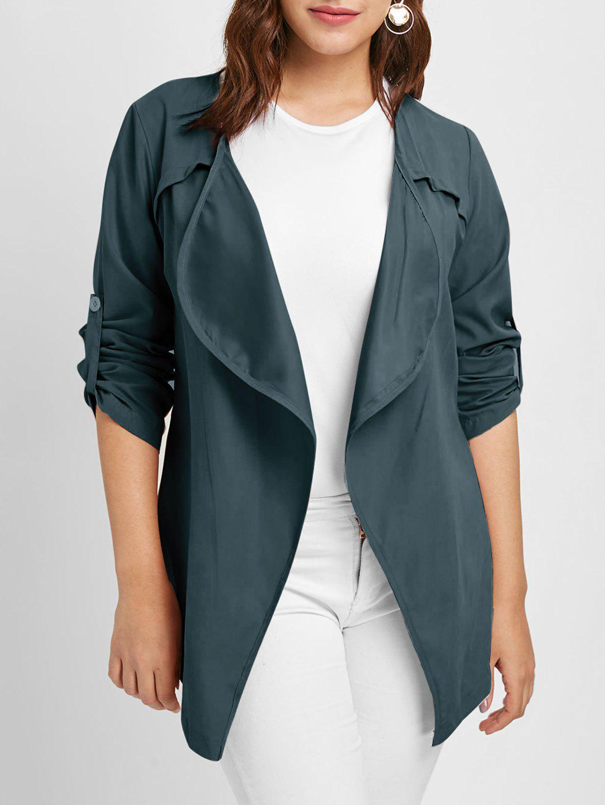 Plus Size Long Sleeves Jacket with Open Front