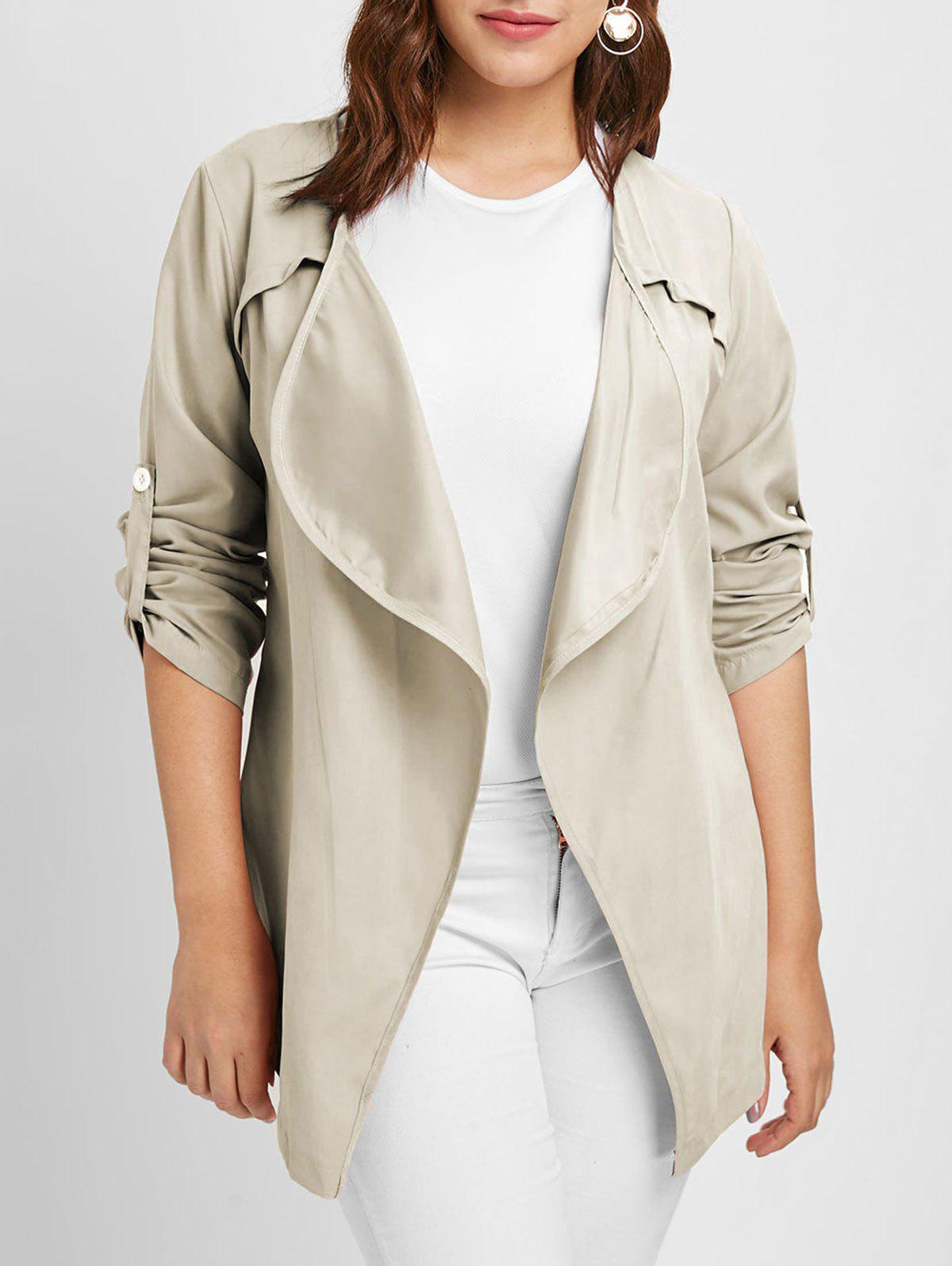 Best Plus Size Long Sleeves Jacket with Open Front