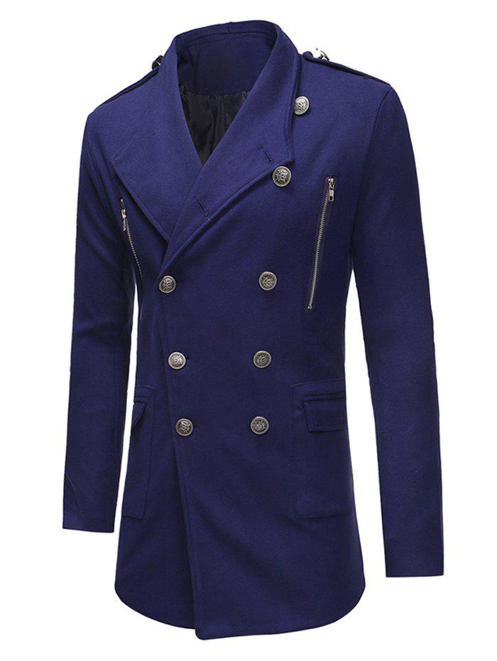 Fashion Double Breasted Zipper Decor Trench Woolen Coat