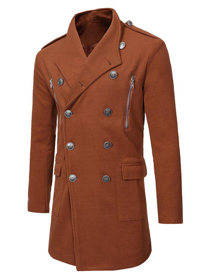 New Double Breasted Zipper Decor Trench Woolen Coat