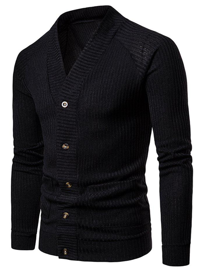 Cheap Solid Pocket Button Up Thin Knit Sweater