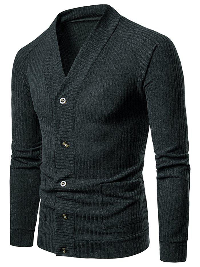 Outfit Solid Pocket Button Up Thin Knit Sweater