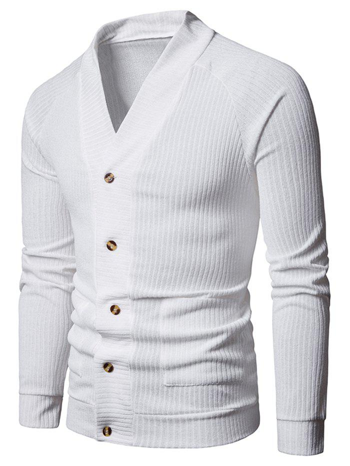 Latest Solid Pocket Button Up Thin Knit Sweater
