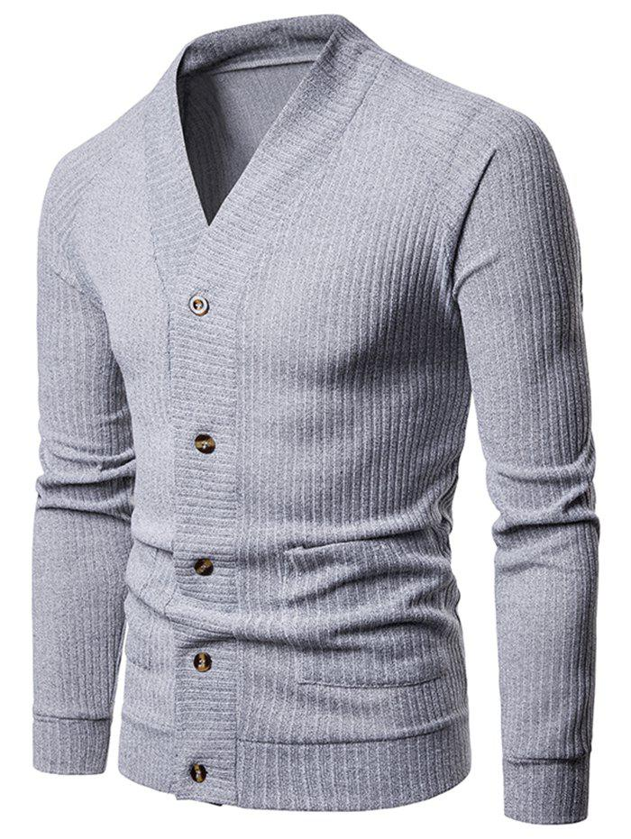 Online Solid Pocket Button Up Thin Knit Sweater