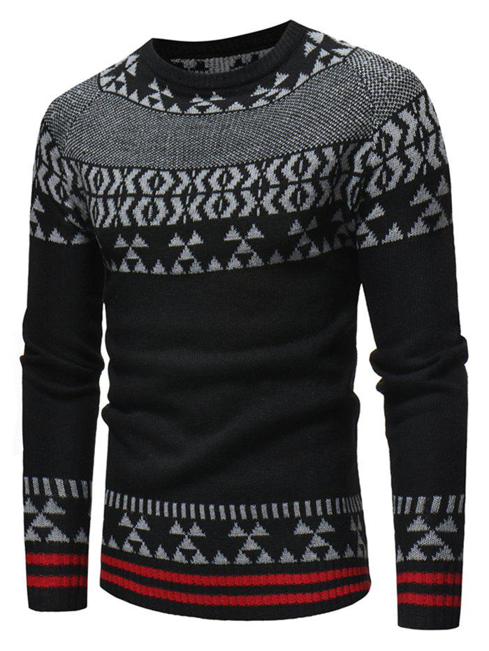Affordable Geometric Stripe Pattern Knit Pullover Sweater