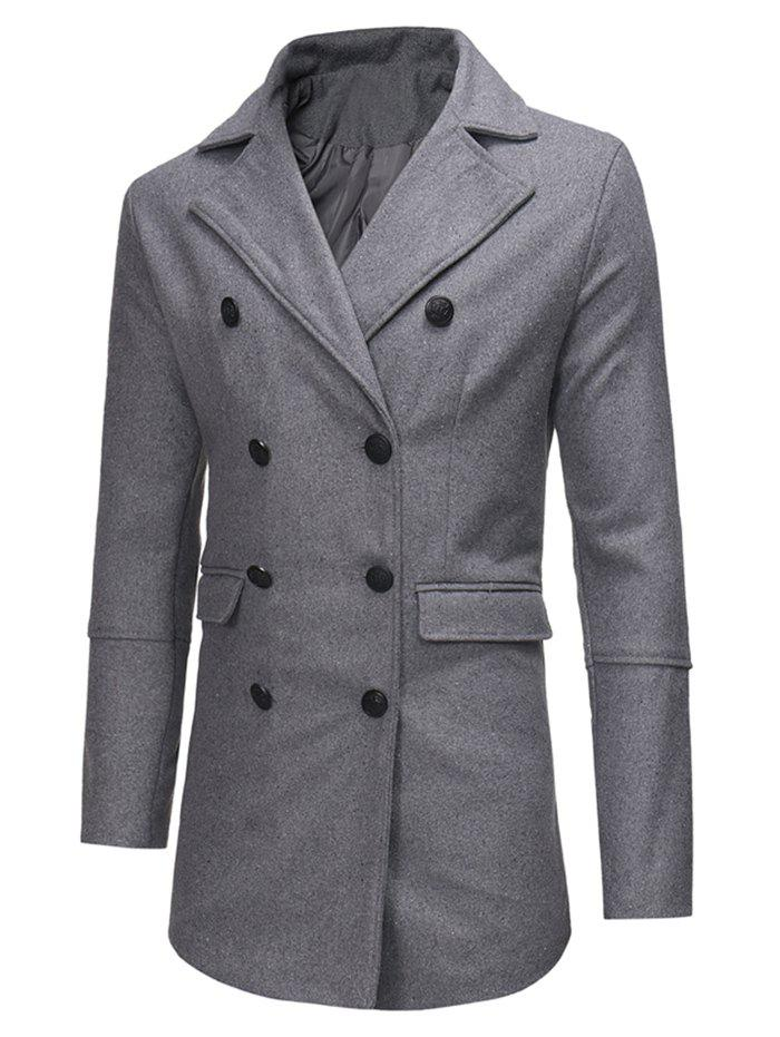 Outfit Double Breasted Back Split Pocket Woolen Trench Coat